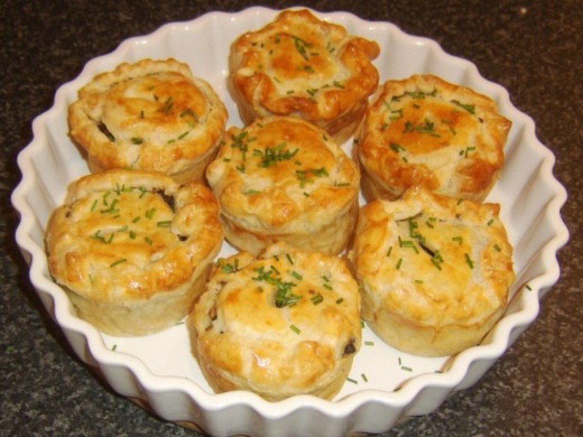Mini puff pastry pies made in porcelain ramekins