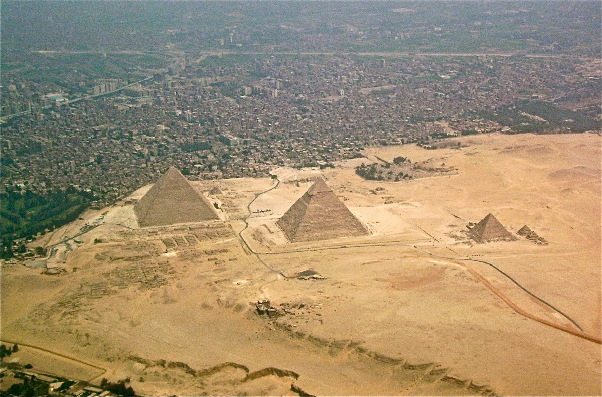 The Giza-pyramids and Giza Necropolis, Egypt, seen from above. Photo taken on 12 December 2008.