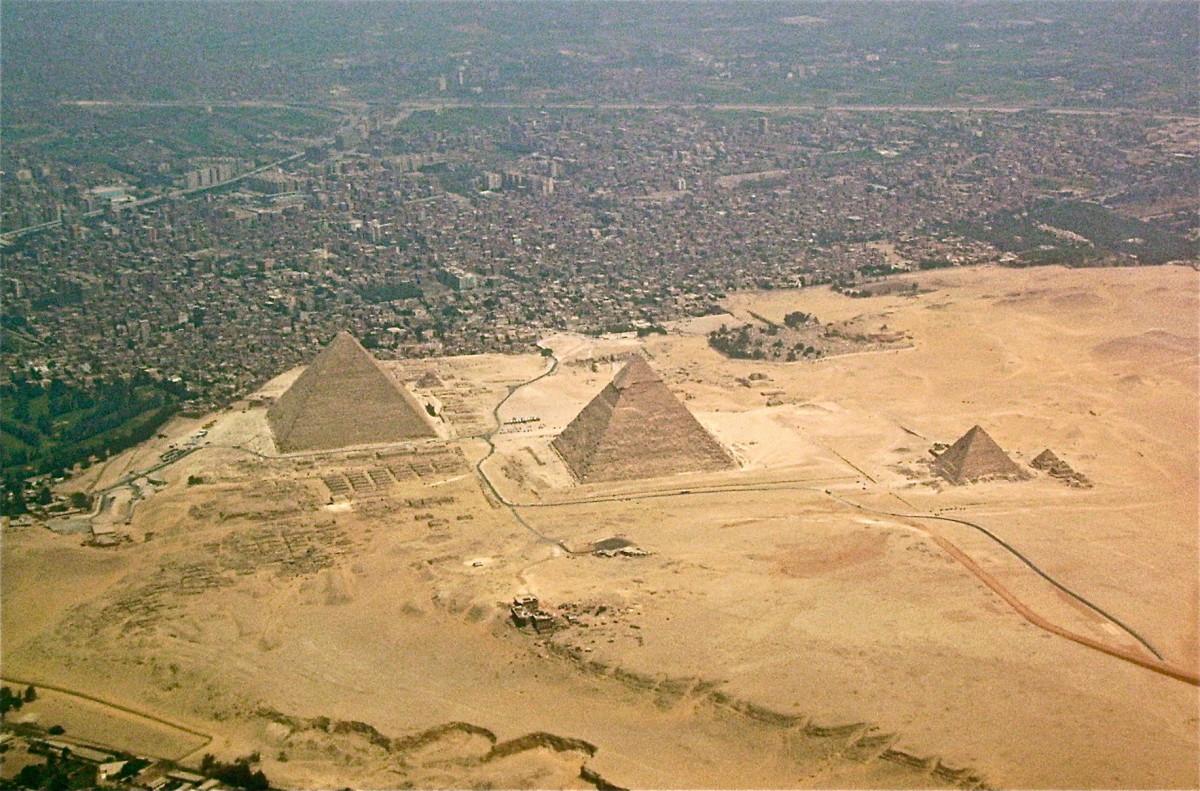 The Giza-pyramids and Giza Necropolis, Egypt, seen from above. Photo taken on 12 December 2008.