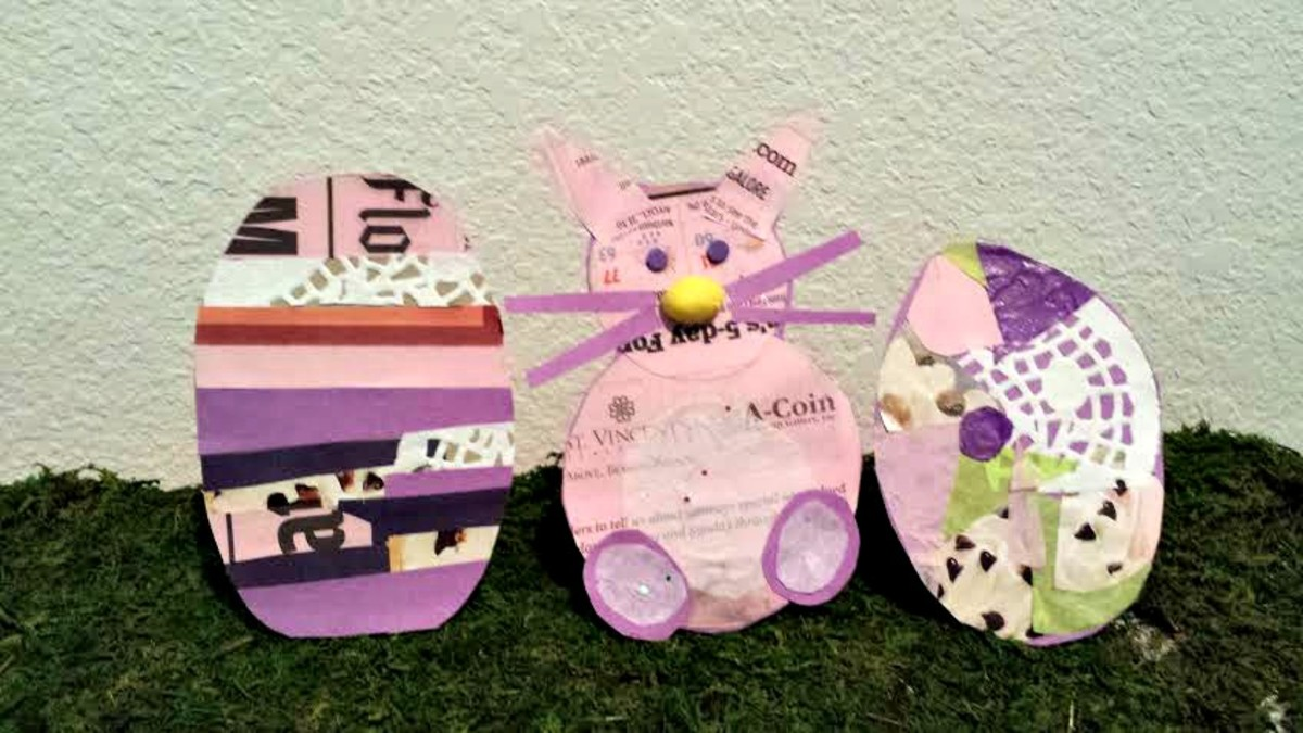 Cut cardboard box into shape of egg and cover with various paper (newspaper, construction paper, paper doilies, etc.).  For the bunny: cut one small circle for head, one larger circle for body and two feet.  Use hole puncher to cut out  eyes.