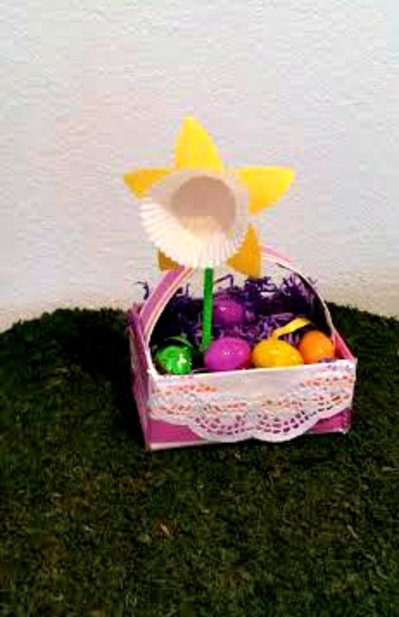 Use a shoe box to make an Easter basket.  You can use it as house décor or as a centerpiece or decorate it really nice and sturdy for kids to use for the egg hunt.