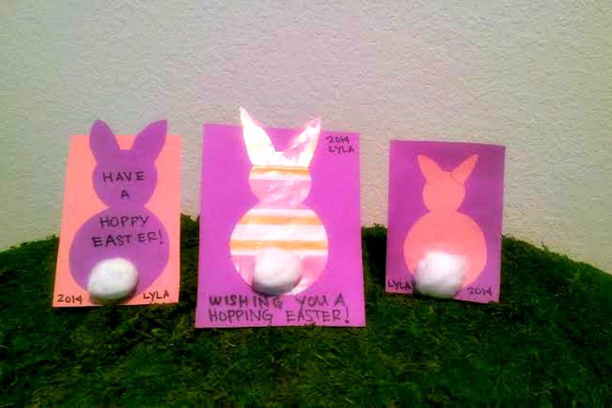 I made these cards using oatmeal boxes, used wrapping paper and construction paper.  Put cotton balls for tails and write a message or sign child's name.  My daughter helped glue all of this - her favorite part of crafting!