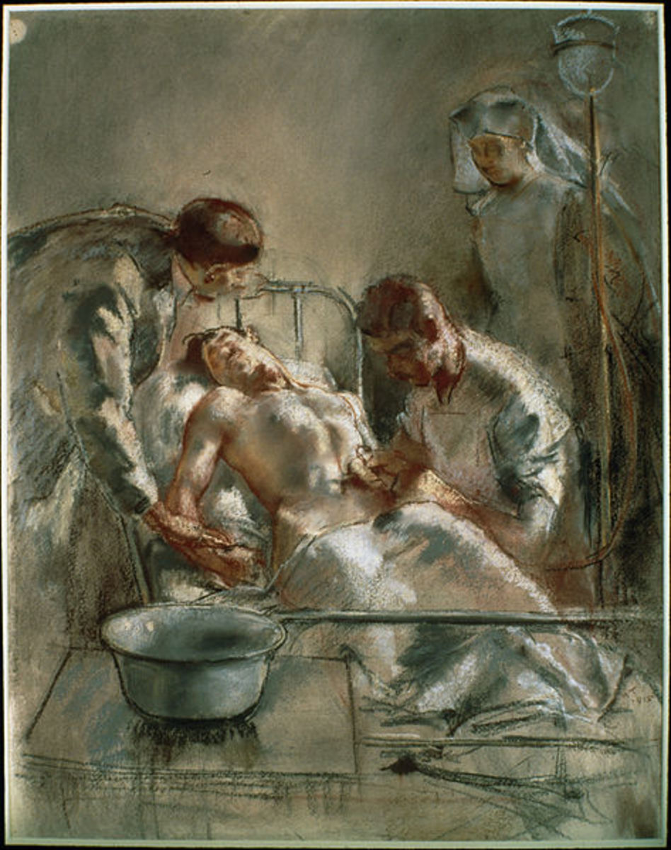 Painting -  Saline Infusion: An incident in the British Red Cross Hospital, Arc-en-Barrois, 1915 by Henry Tonks