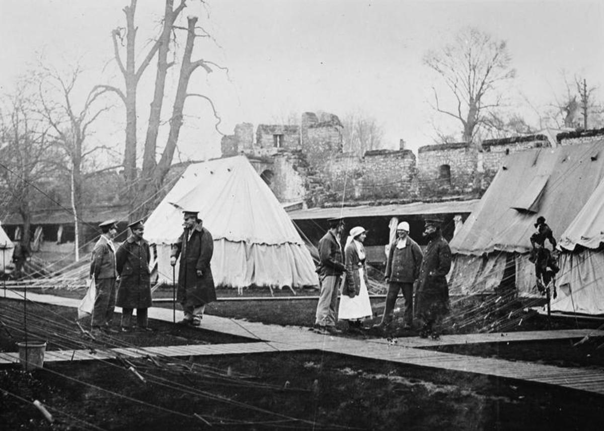 Open air hospital for wounded soldiers during WW1