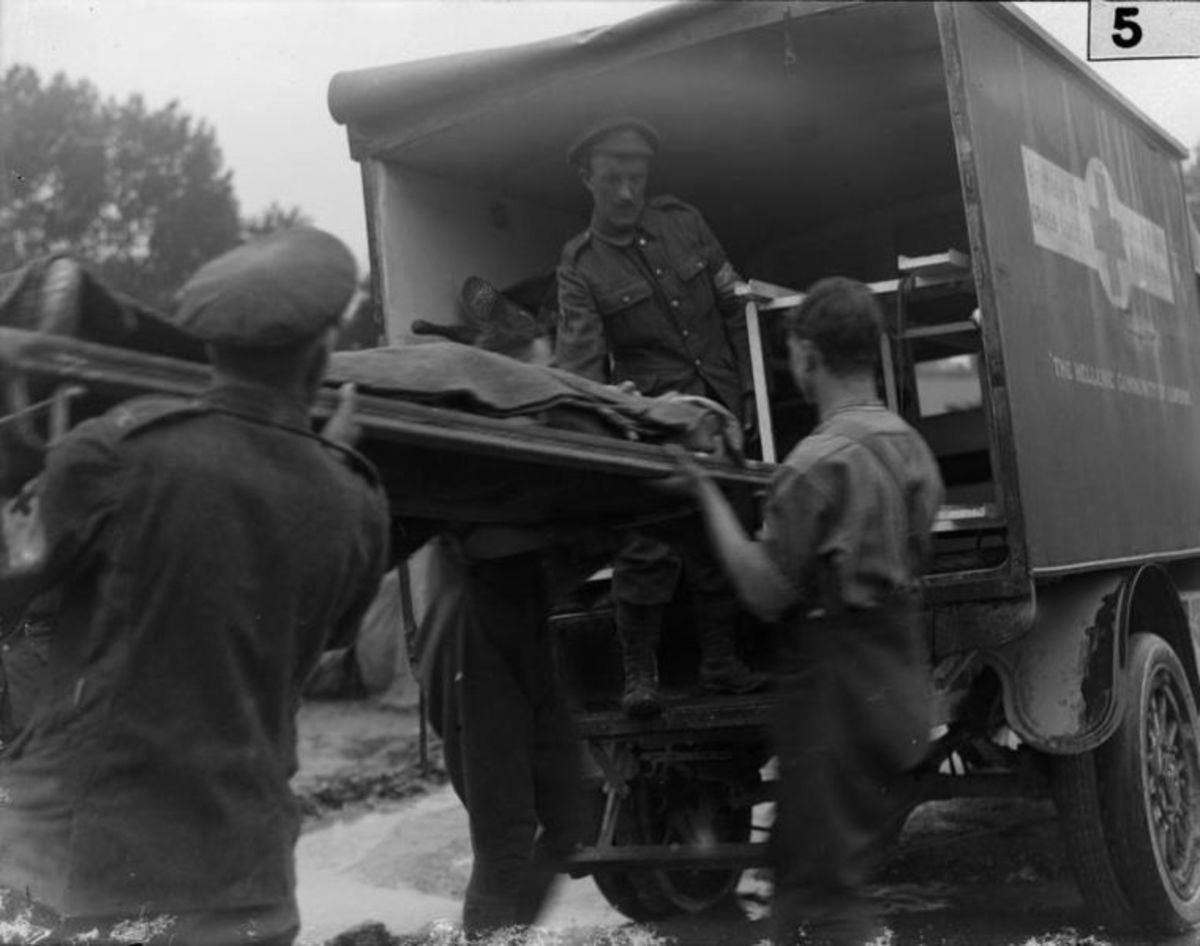 Caualties being loaded into an ambulance during the Battle of the Somme 1916