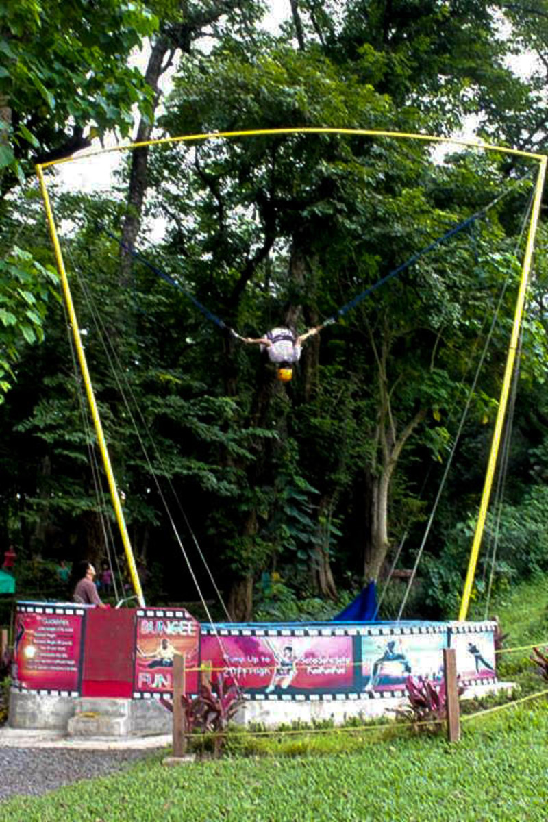Feel young again just by bouncing on a trampoline with a harness