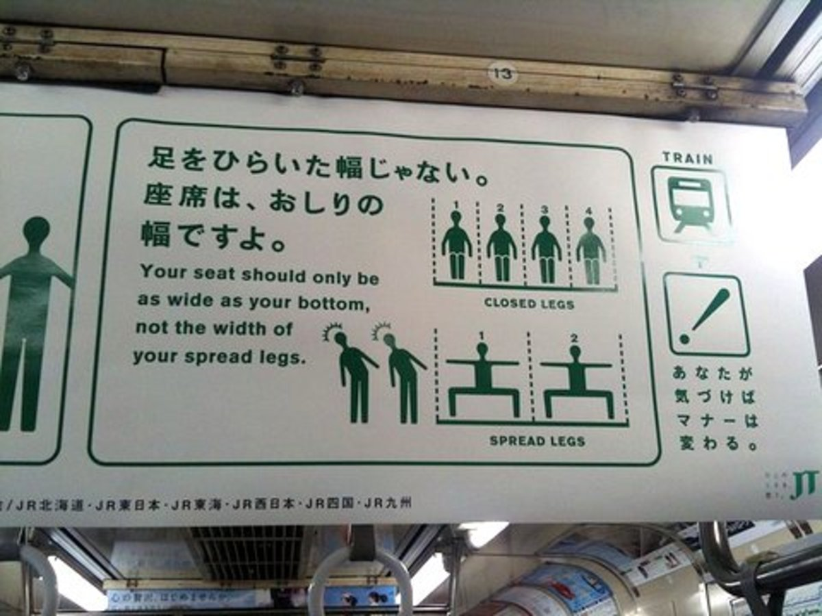 Commuter etiquette poster at Tokyo subway:  rules on seating