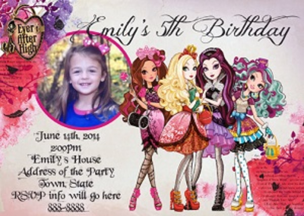 Ever after high photo party Invitations