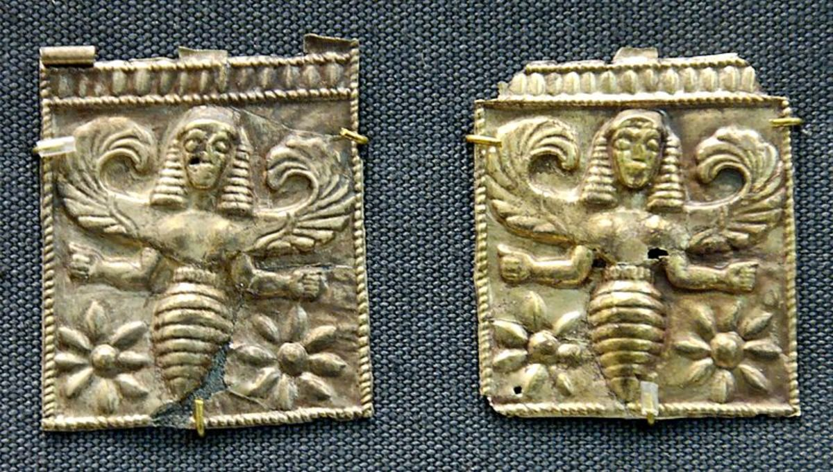 Bee-goddess, perhaps associated with Artemis above female heads. Gold plaques, 7th century BC; British Museum