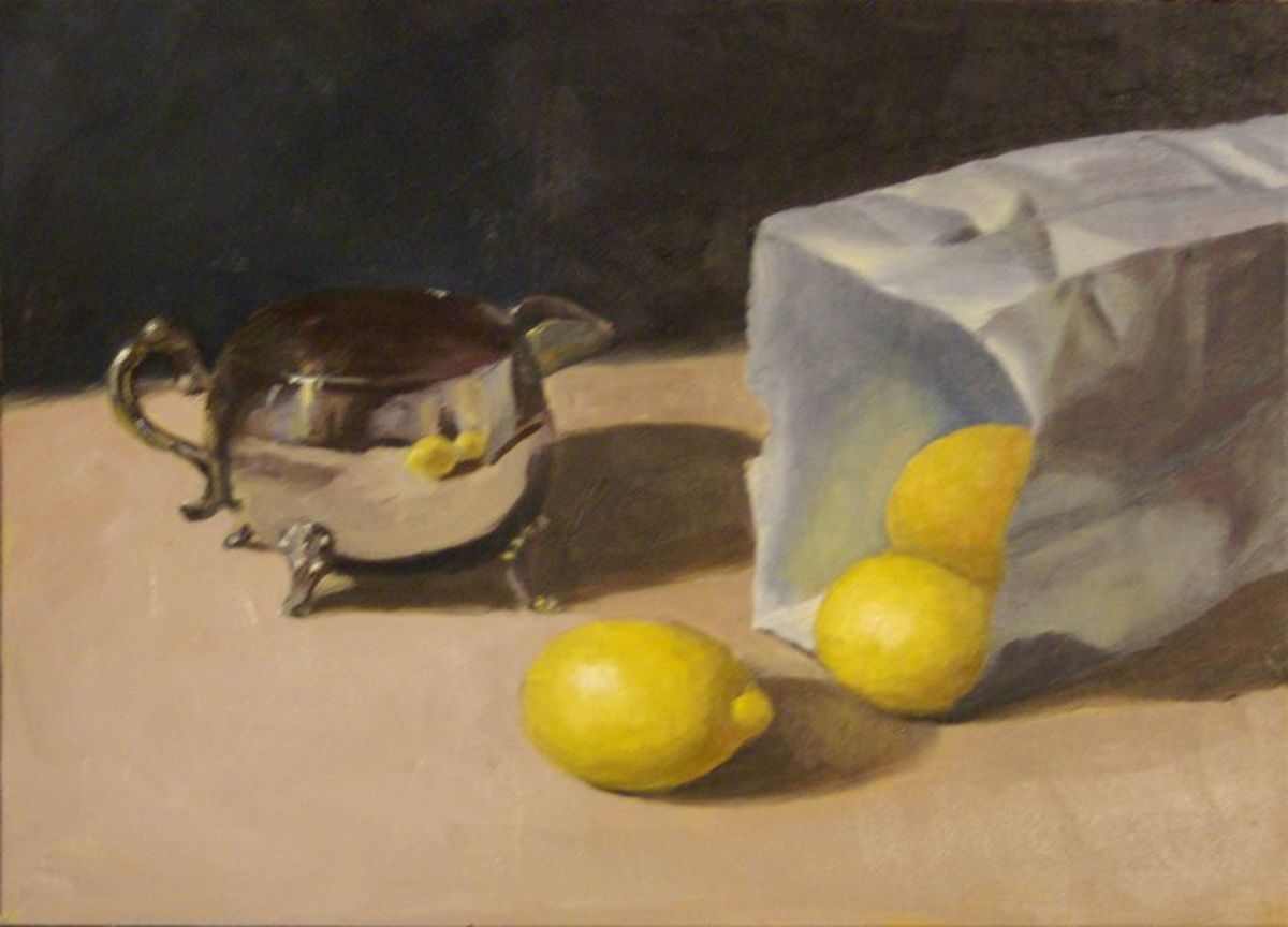 Oil painting of lemons and silver service.