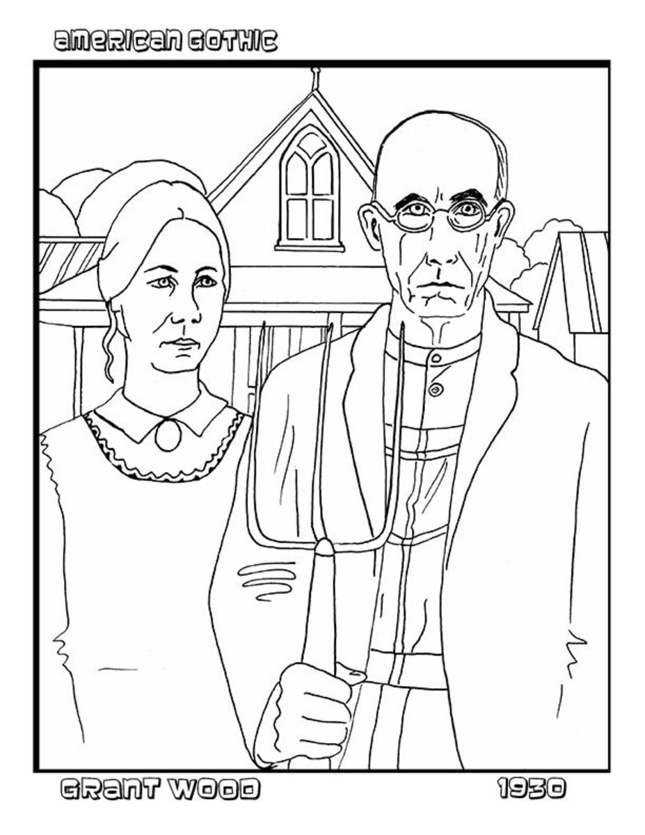 What not to say to artists for American gothic coloring page