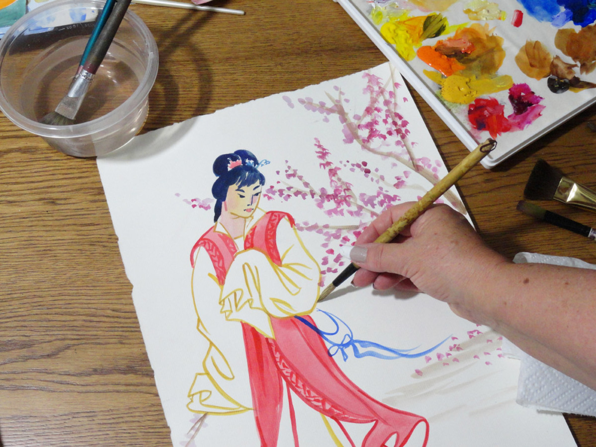 My watercolor of a geisha.