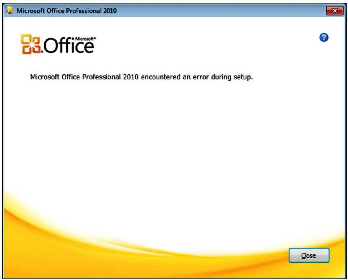 "How to resolve ""Microsoft Office 2010 Professional encountered an error during setup"""
