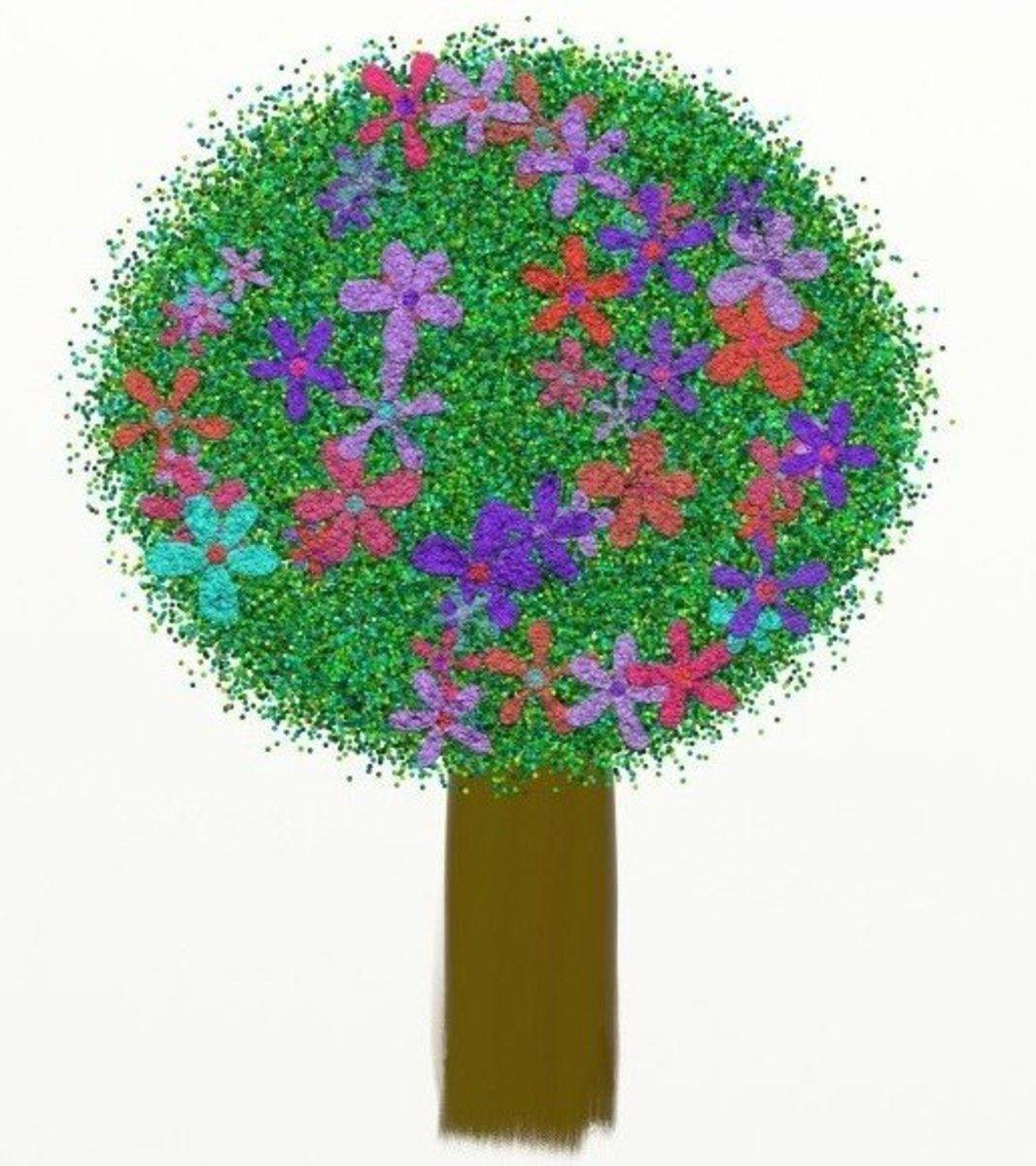 Tree with Purple, Orange and Aqua Flowers