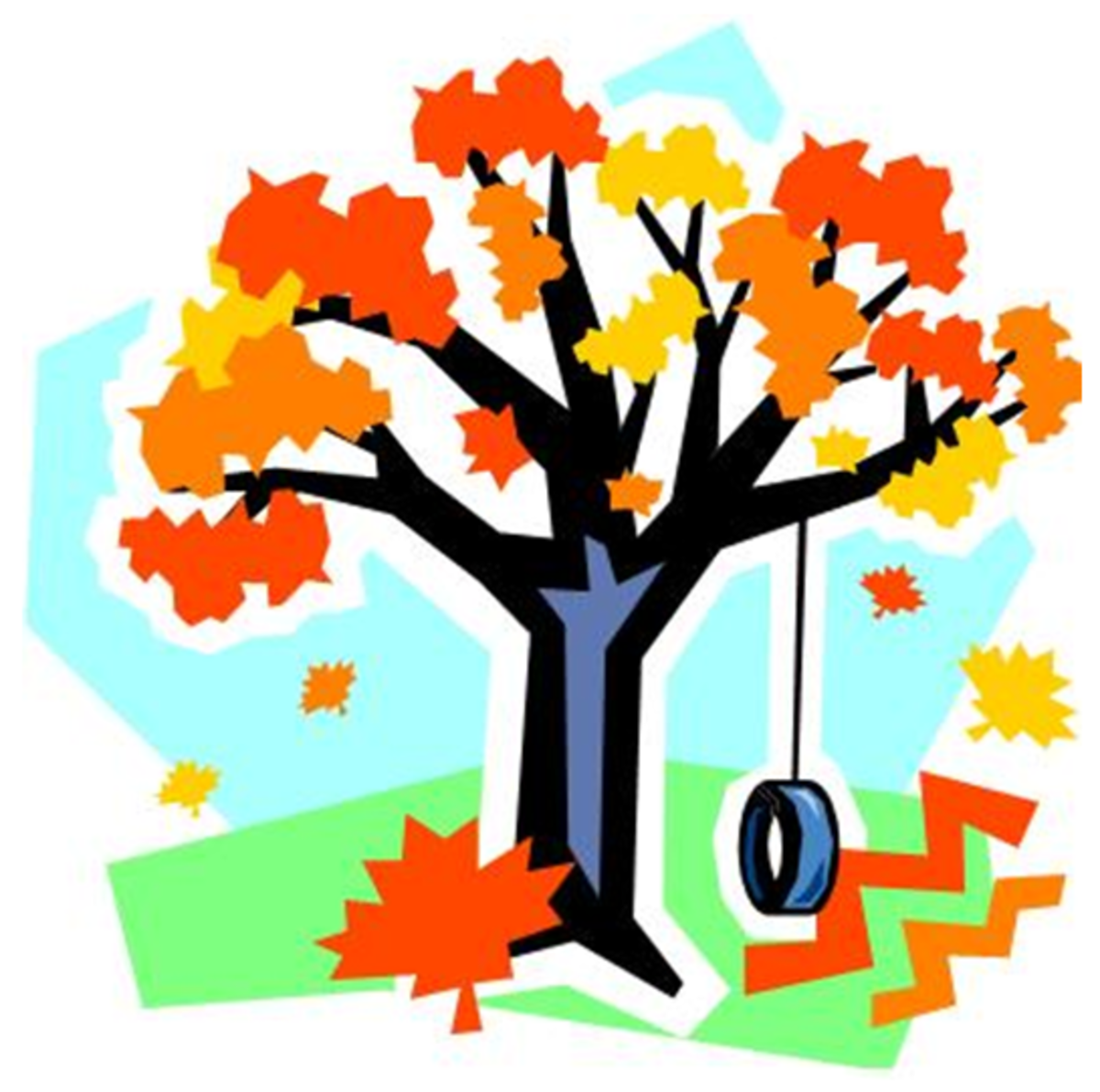 Autumn Tree with Tire Swing