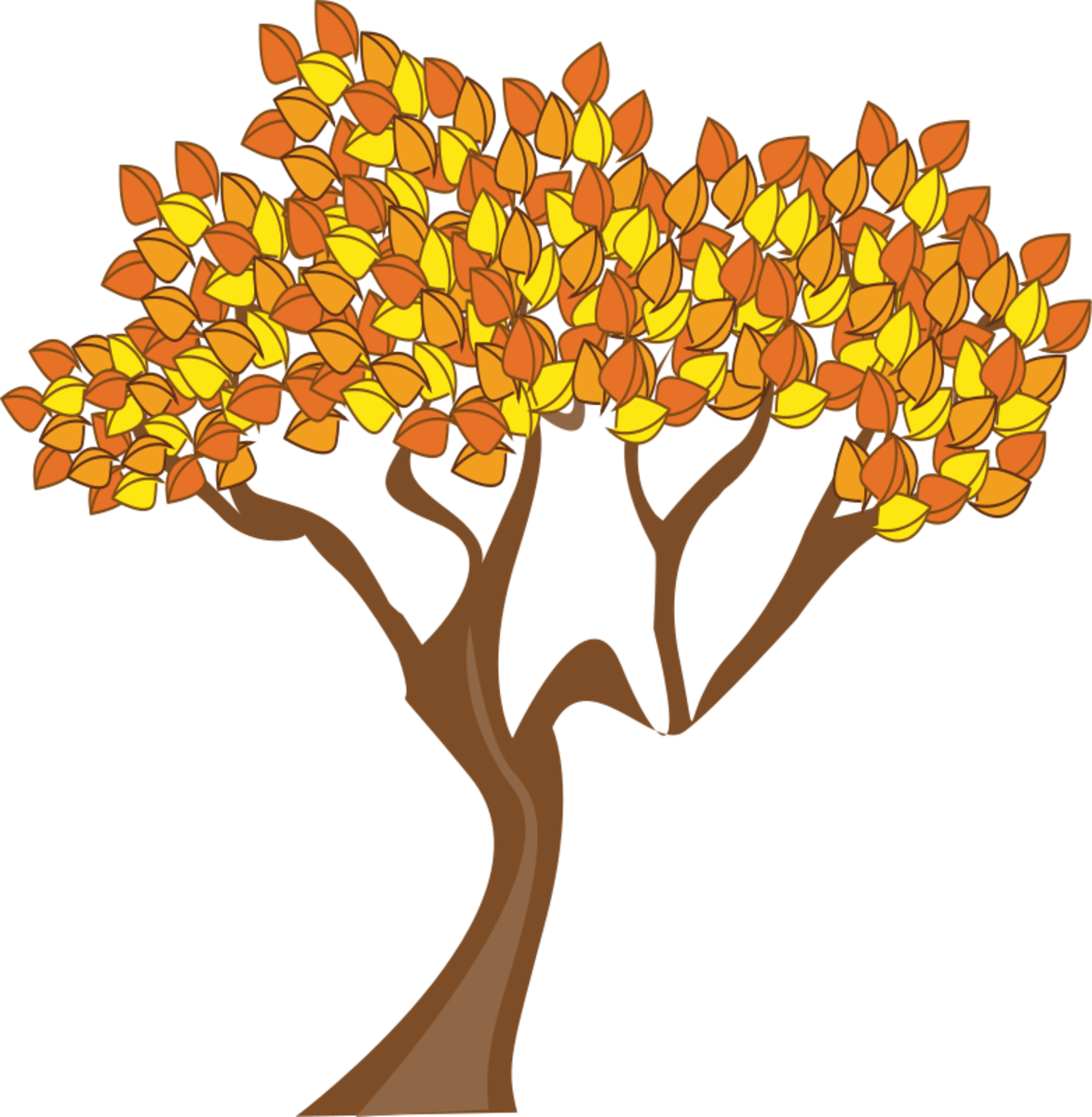 Tree with Orange and Yellow Leaves