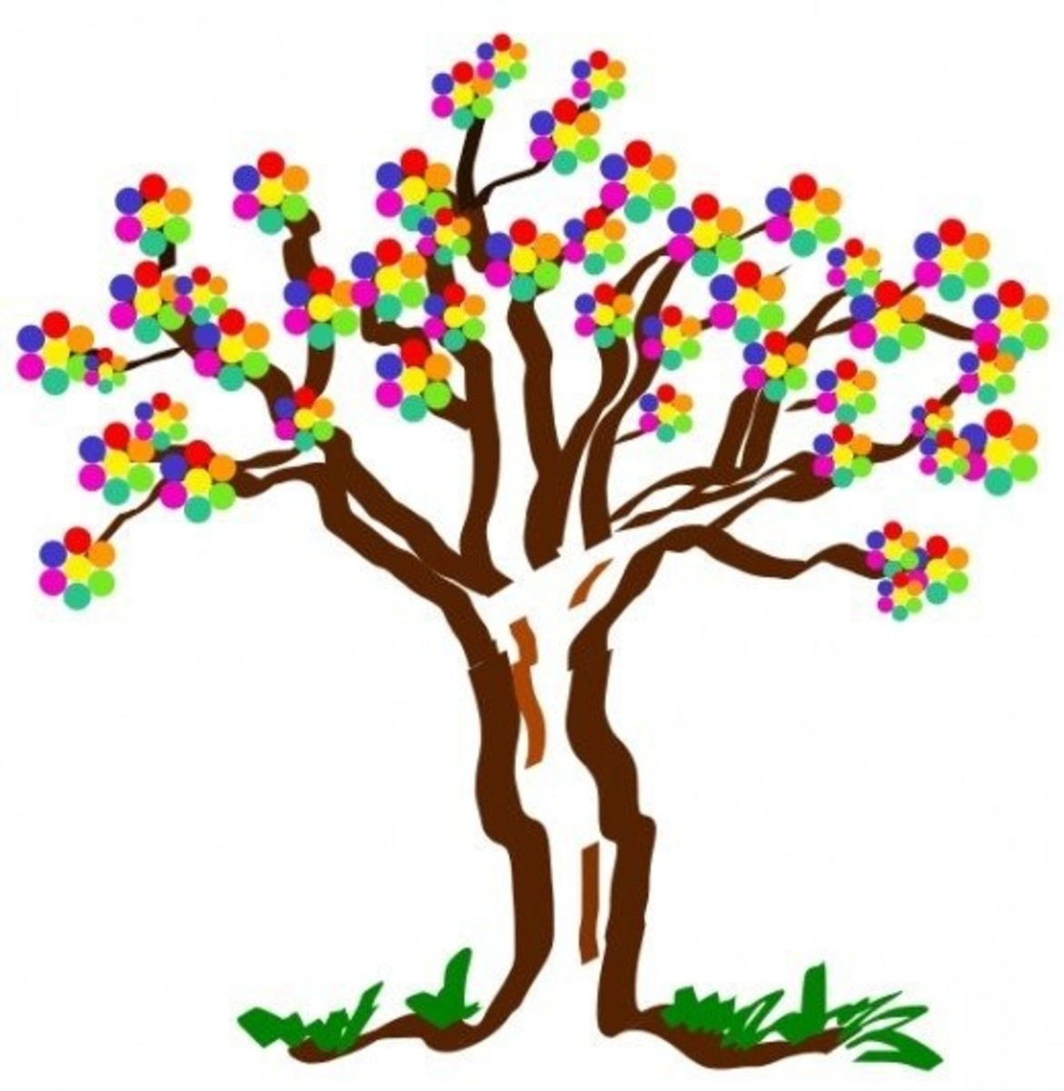 Tree with Multi-Colored Flowers