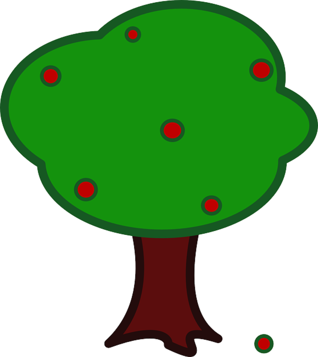 Big Apple Tree with Red Apples