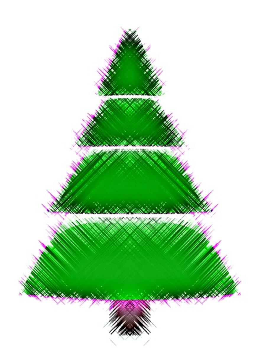 Pine Tree Trimmed in Purple