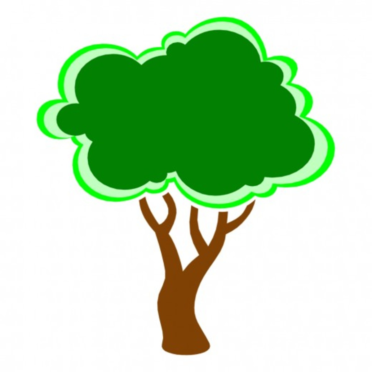 Tree Outlined in Neon Green