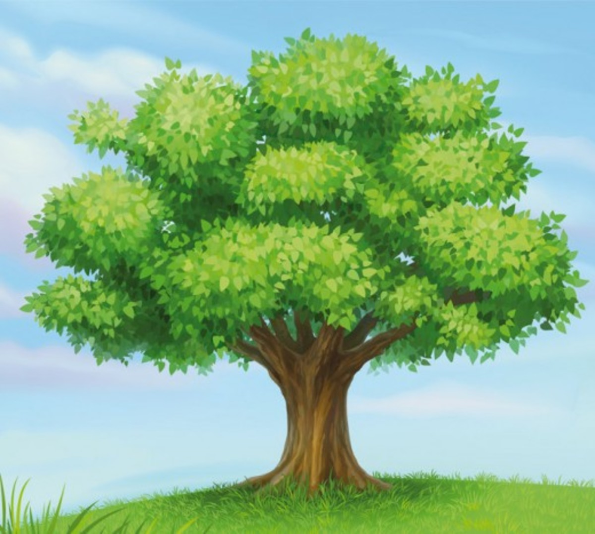 Tree with Blue Sky Clip Art