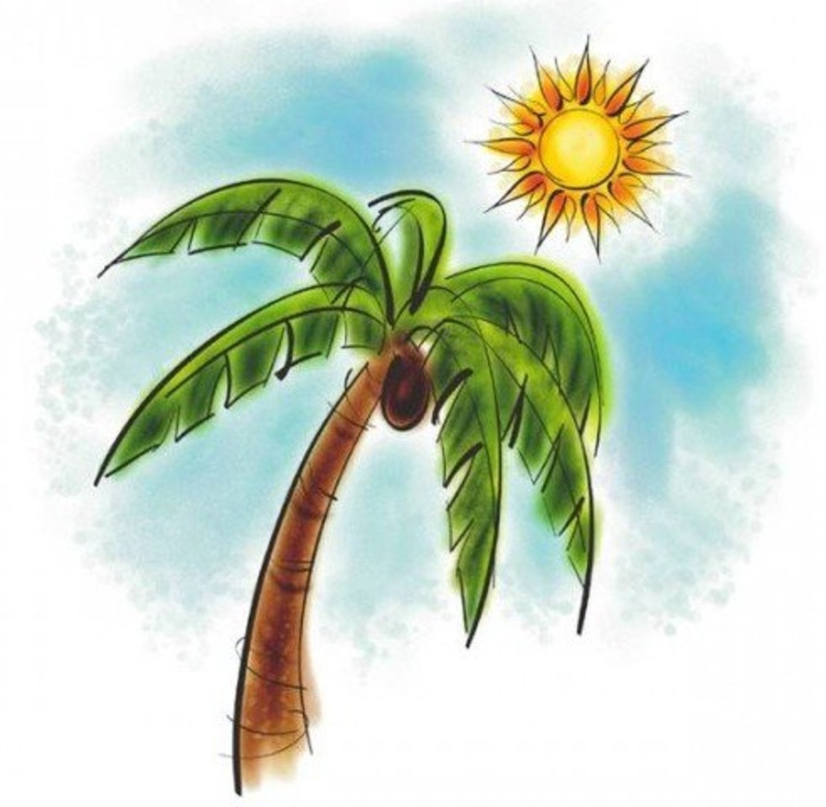 Watercolor Palm Tree