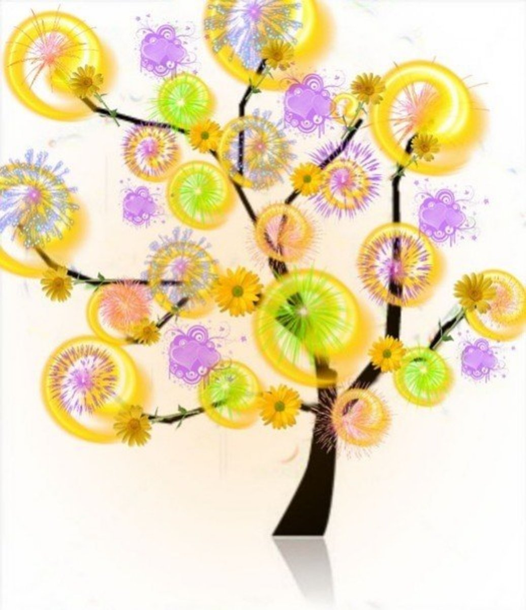 Tree in Lilac, Green and Gold