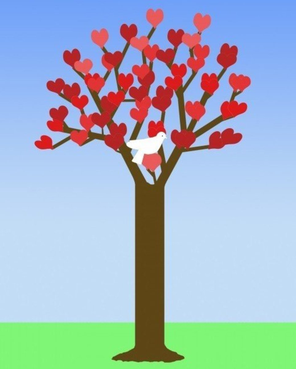 Tree of Hearts with White Dove