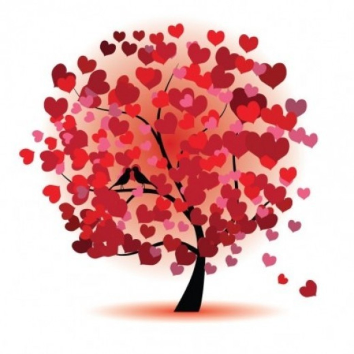Tree of Hearts with Kissing Birds
