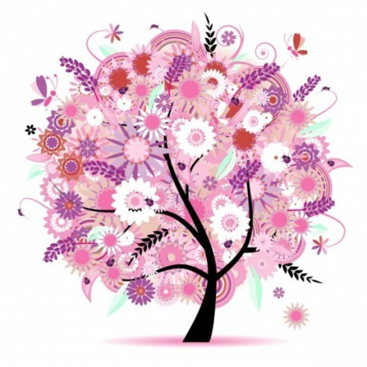 Pink Tree with Flowers and Butterflies