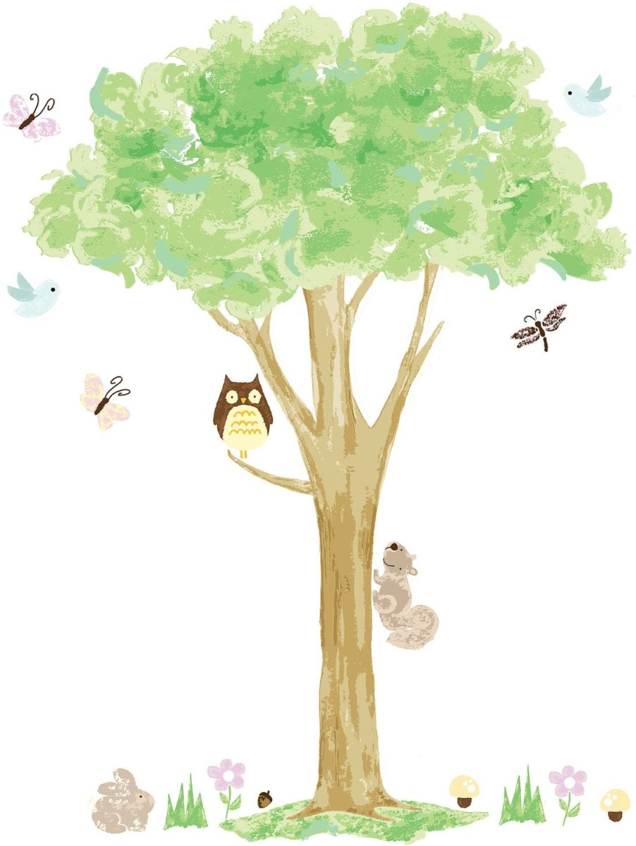 Tree Wall Art with Birds, Squirrel, Butterflies and Owl