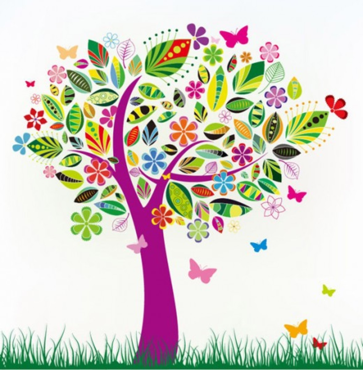 Purple Tree with Flowers and Butterflies