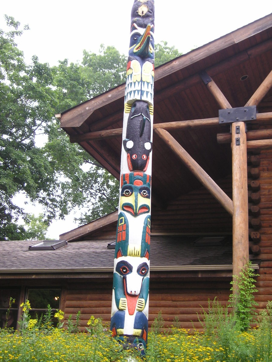 Totem Pole outside the Nature Center