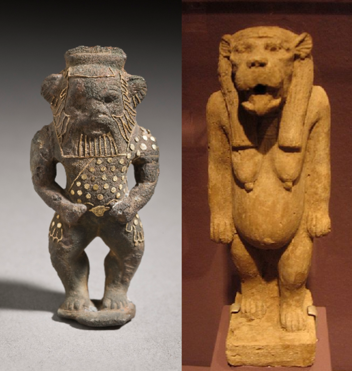 Bes (protector god of children) and Taweret (goddess of childbirth)
