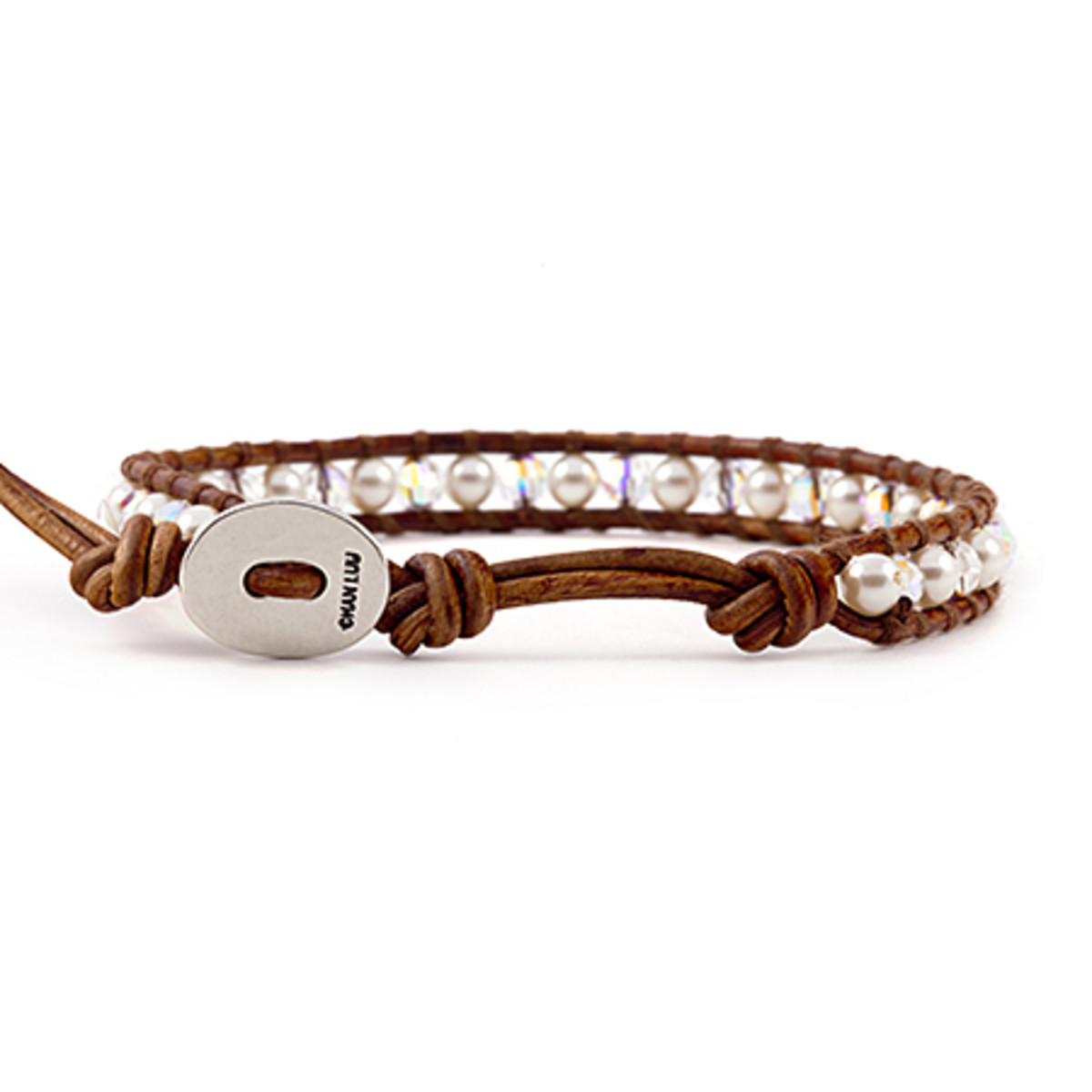 leather wrap bracelet by Chan Luu with distinctive Chan Luu engraved button