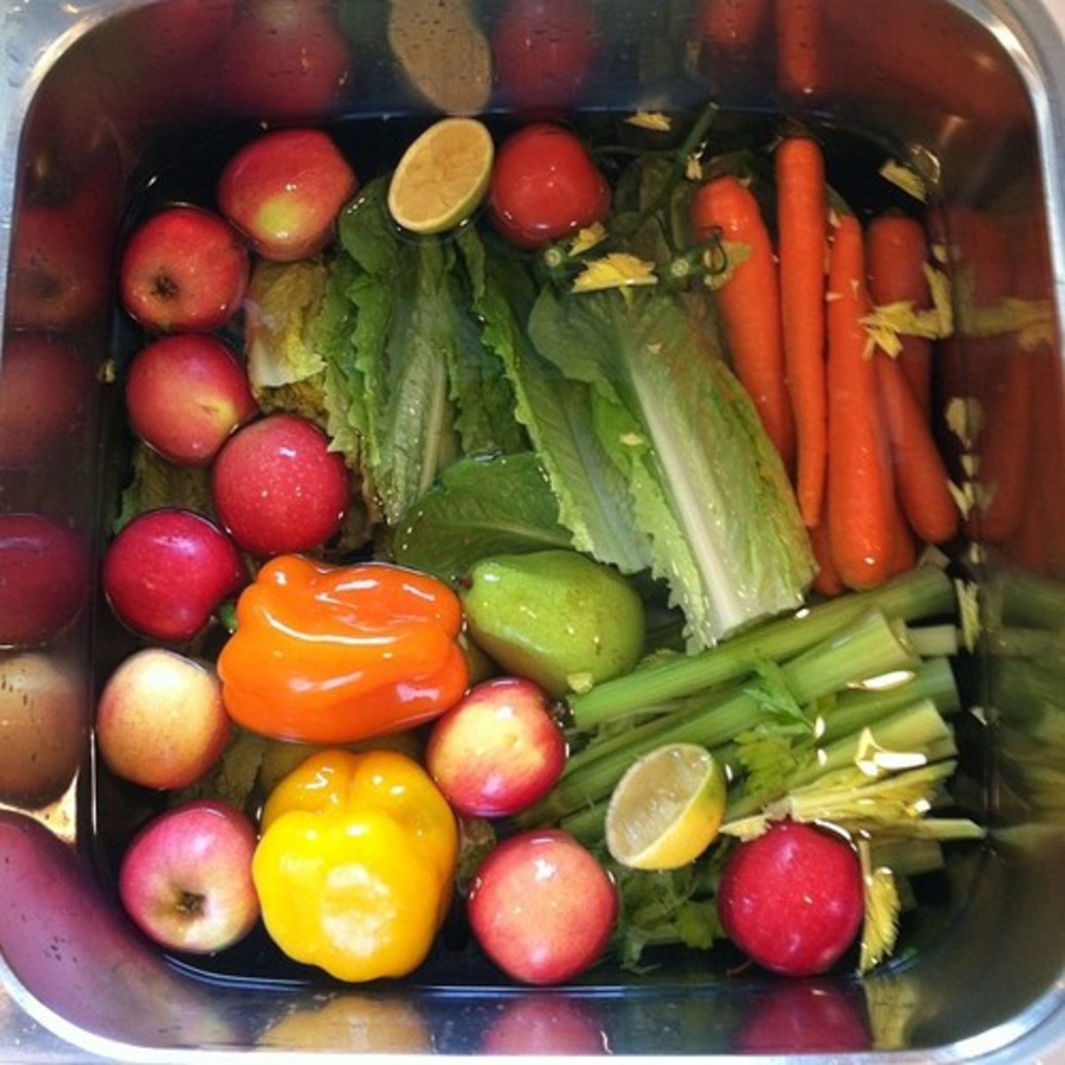 To remove pesticides and waxes soak your produce in a vinegar and water bath