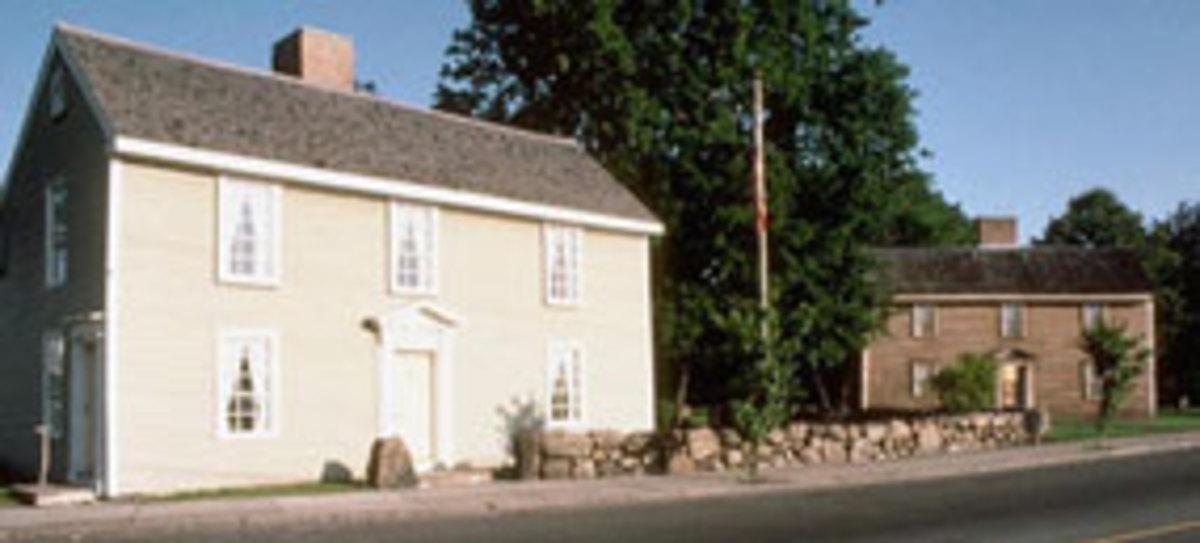 Adams' homes in Braintree. John Quincy Adams birthplace on left; John Adams birthplace on right.