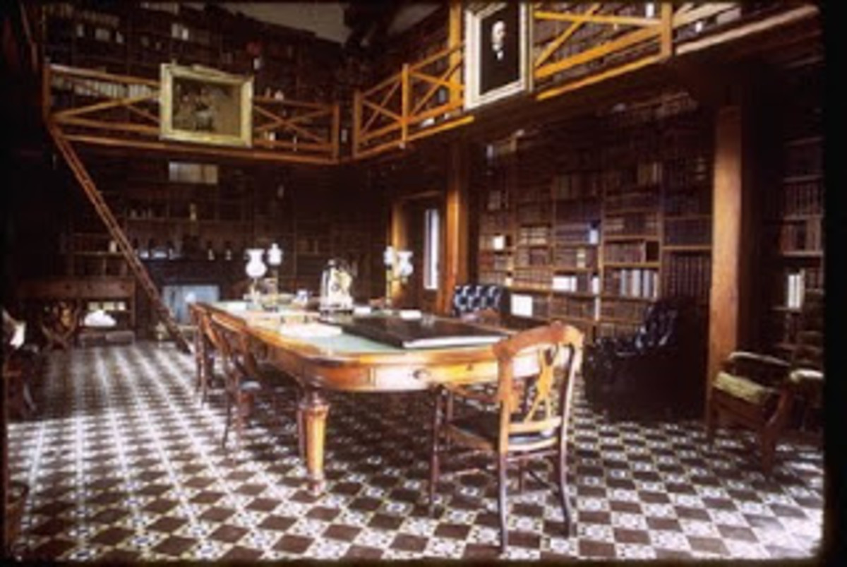 Interior of the Stone Library, which John and JQA's 14,000-book collection as well as JQA's presidential library.