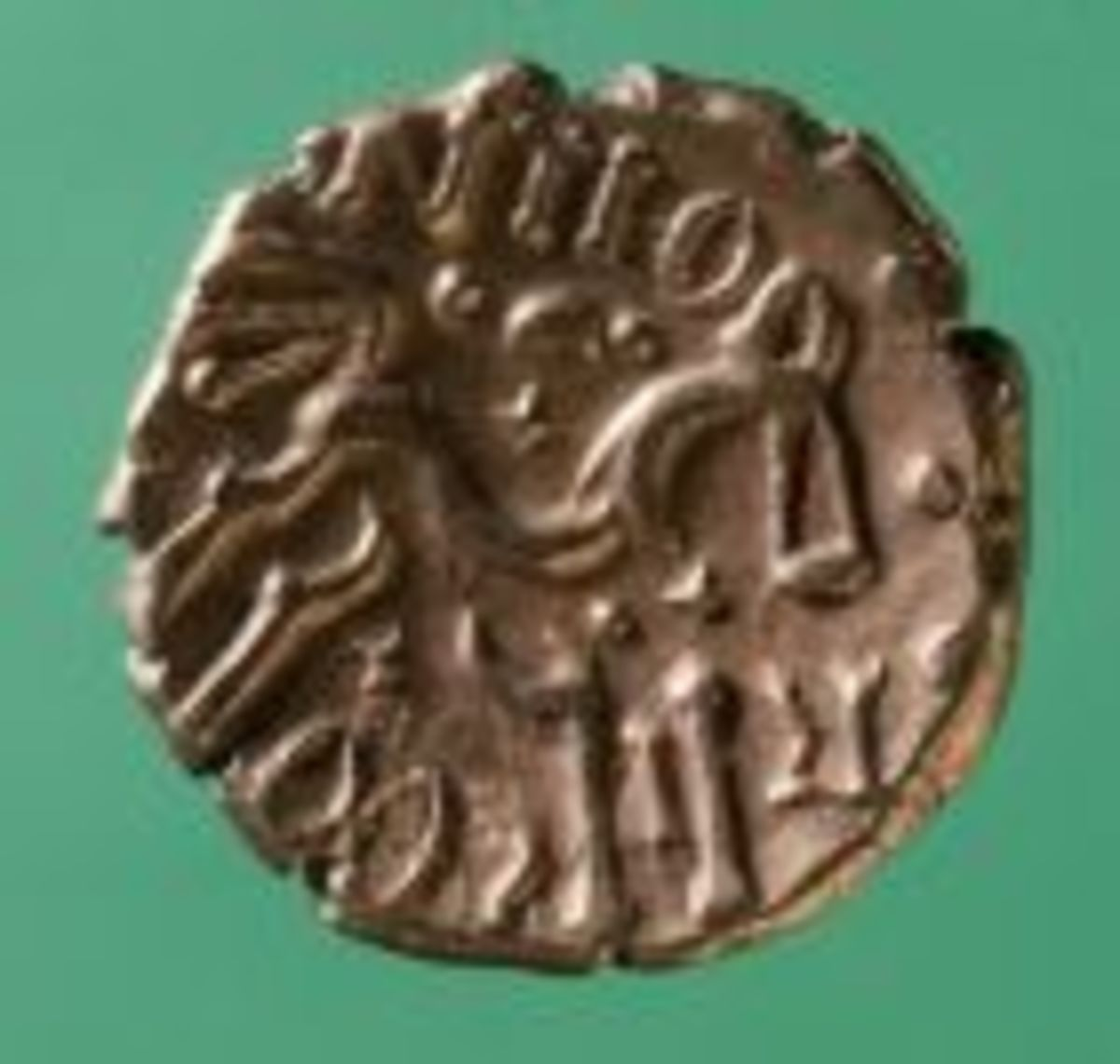 Iron Age Celtic coin from Tintern, Monmouthshire, Wales.