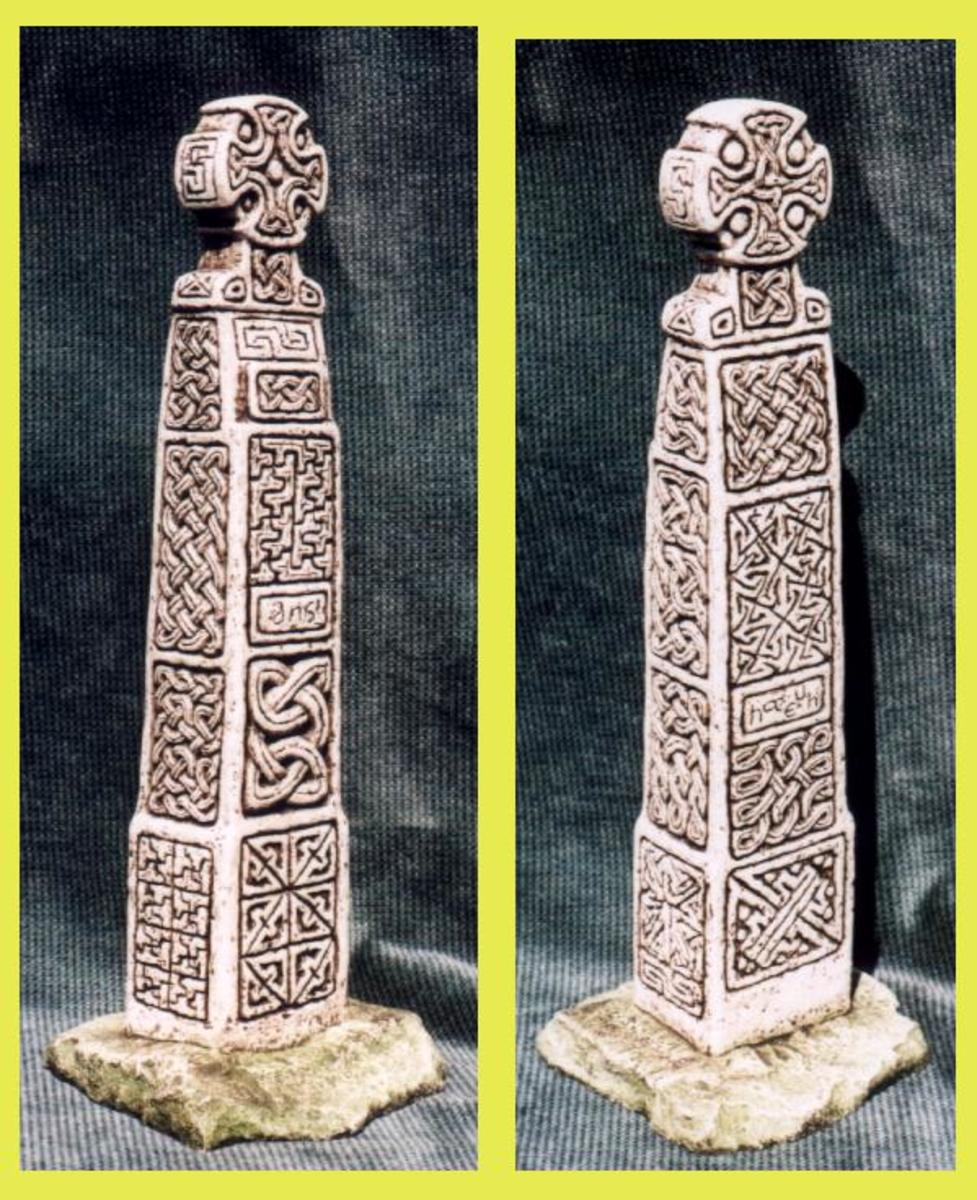 Welsh Pillar Cross.  10th century, located in Cairn Engeli (the Mount of Angels) at a church founded by St, Brynach in the 6th century.  Includes Celtic solar designs.