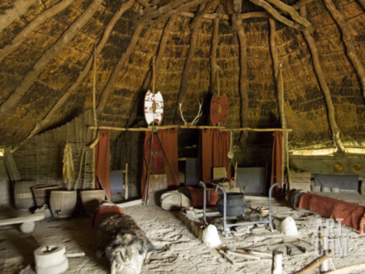 Pembrokshire, Wales.  Reconstructed Iron Age Celtic roundhouse in side at Castell Henlly.