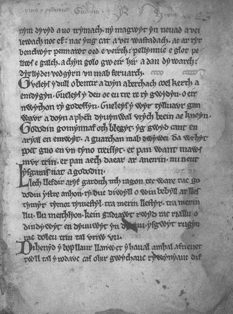"Original manuscript of ""Y Gododdin,"" by Welsh poet, Aveirin.  From the 12th century."
