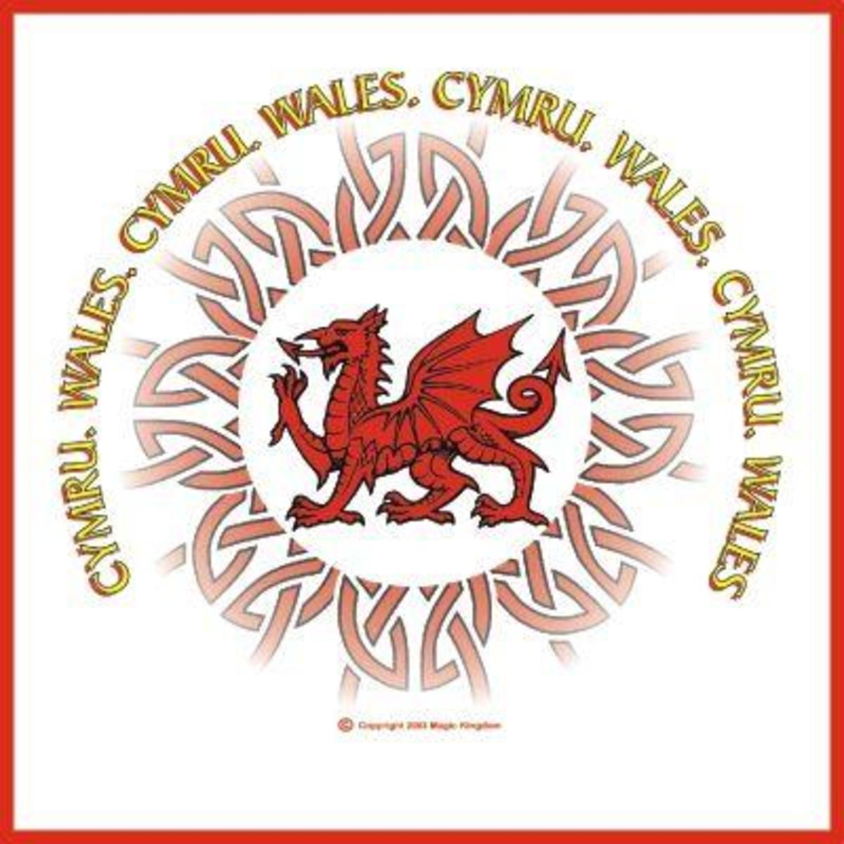 Cymru the original name for Wales in Celtic along with Celtic knot and dragon.
