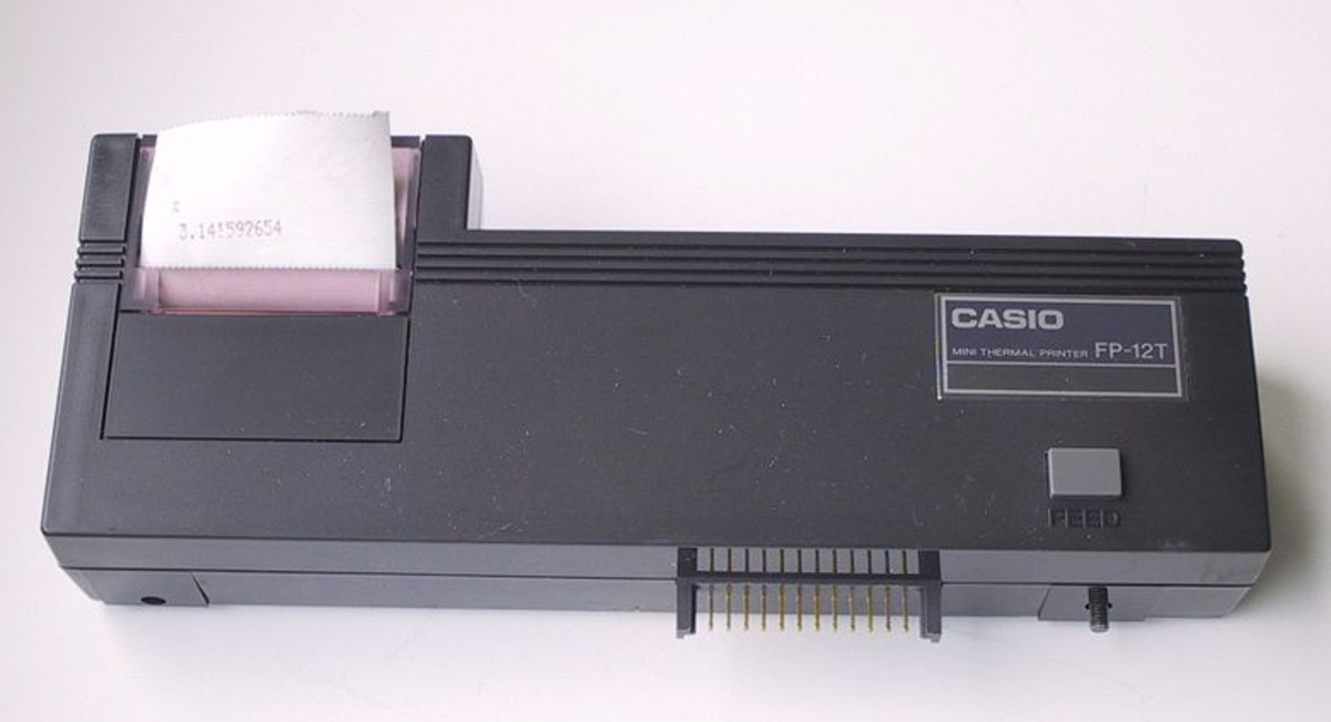 The Casio FP-12 Mini Thermal Printer is an extension to some 1980s Casio pocket computers