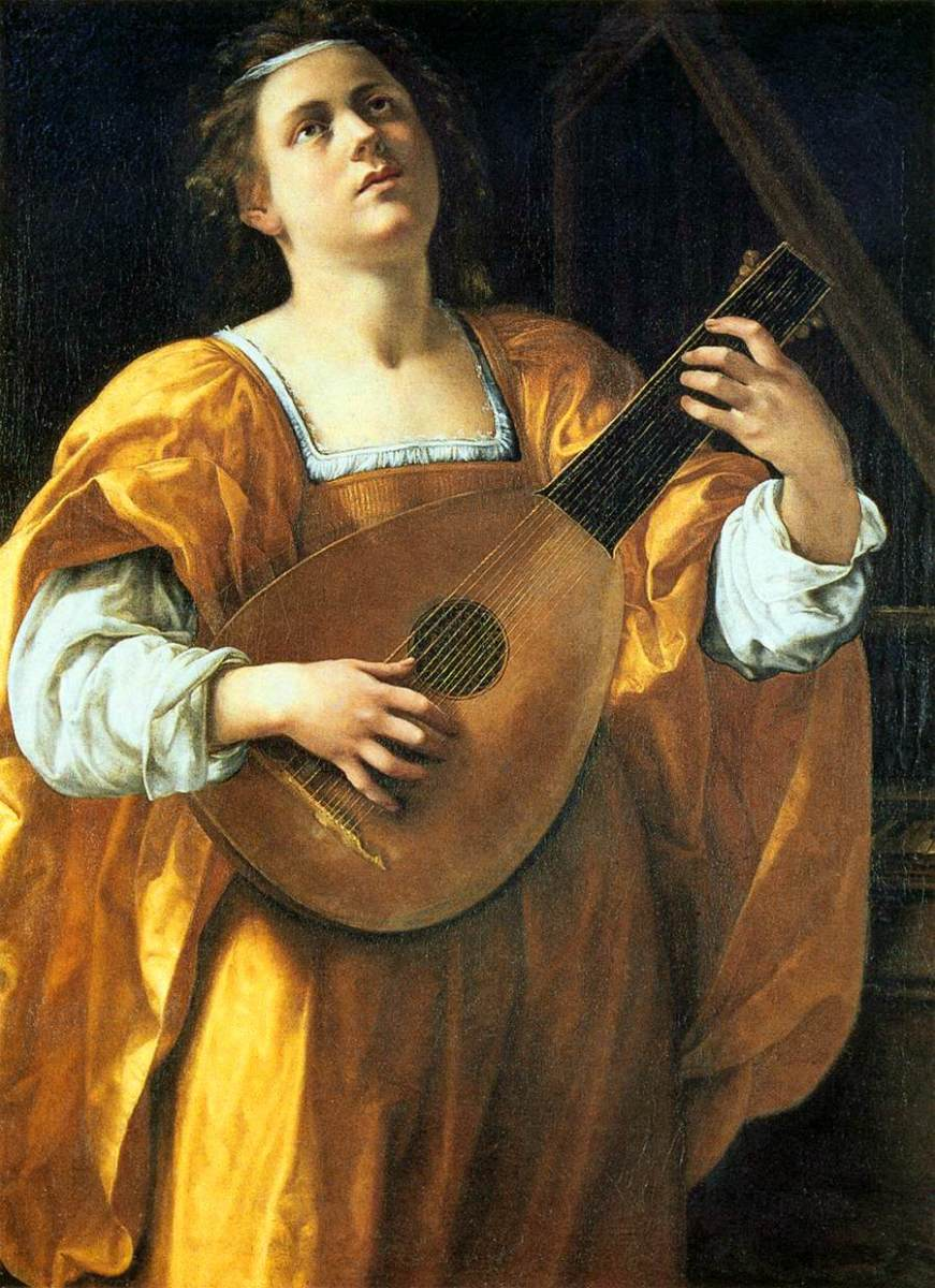 A. Gentileschi, St. Cecile Playing the Lute (a. 1620), Rome Spada Gallery. The face of the saint recalls Artemisia. Cecile is wearing a yellow dress, the favorite colour of Artemisia, that she had learned to make from her father.