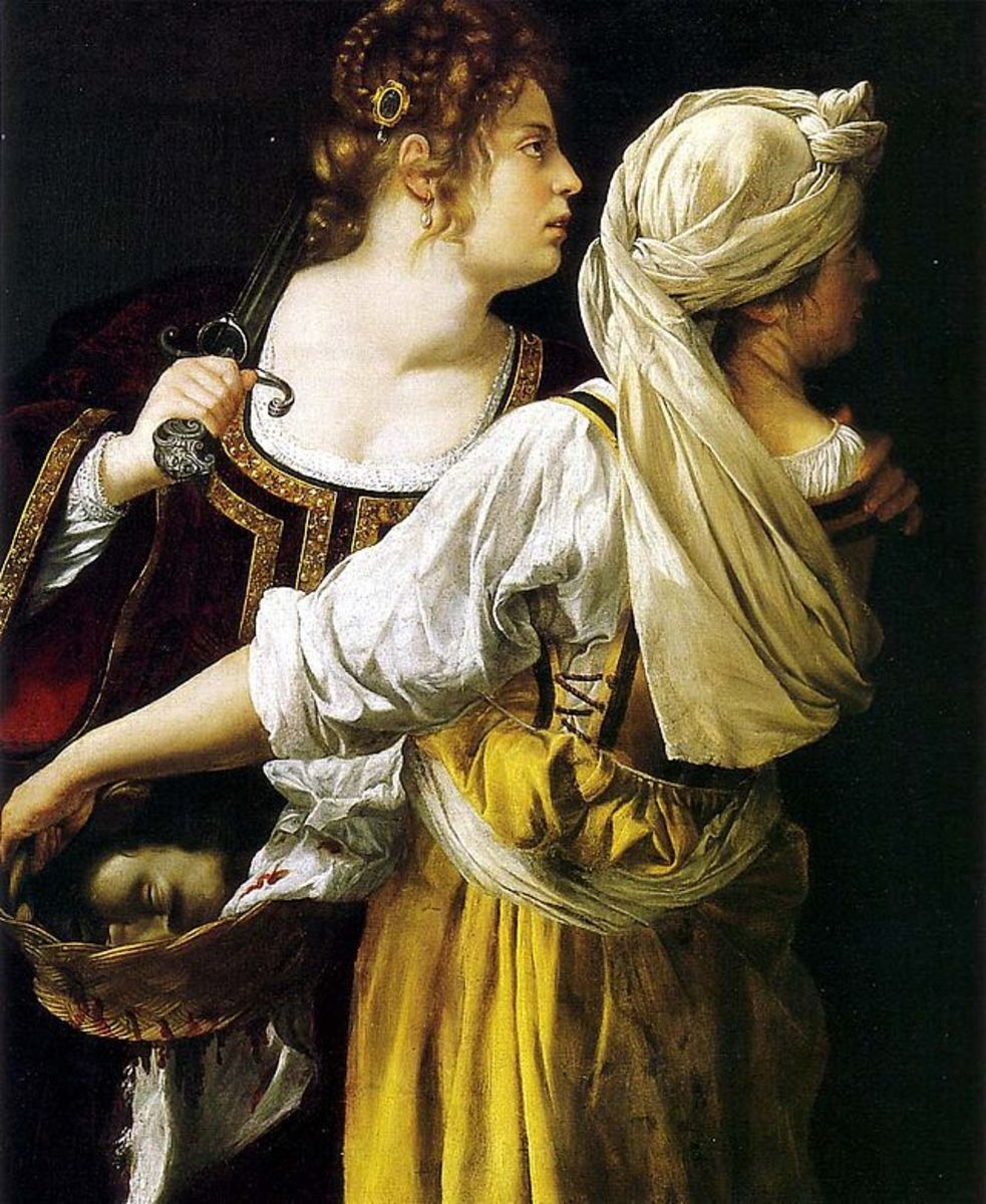 A. Gentileschi, Judith and Her Maidservant (a. 1618), Florence Pitti Palace