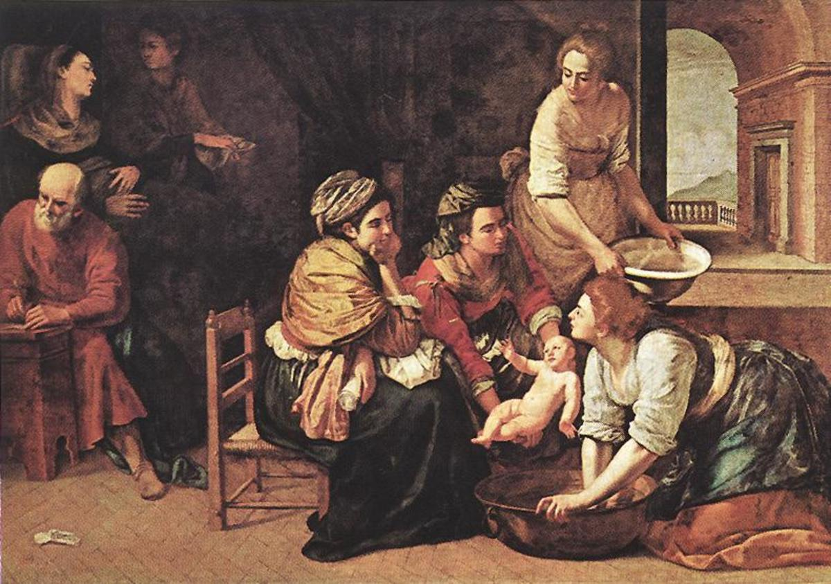 A. Gentileschi, Birth of St. John the Baptist (a. 1633), Madrid Prado Museum. The painting shows the influence of the of Annibale Carracci, probably filtered through Massimo Stanzione and the Domenichino.