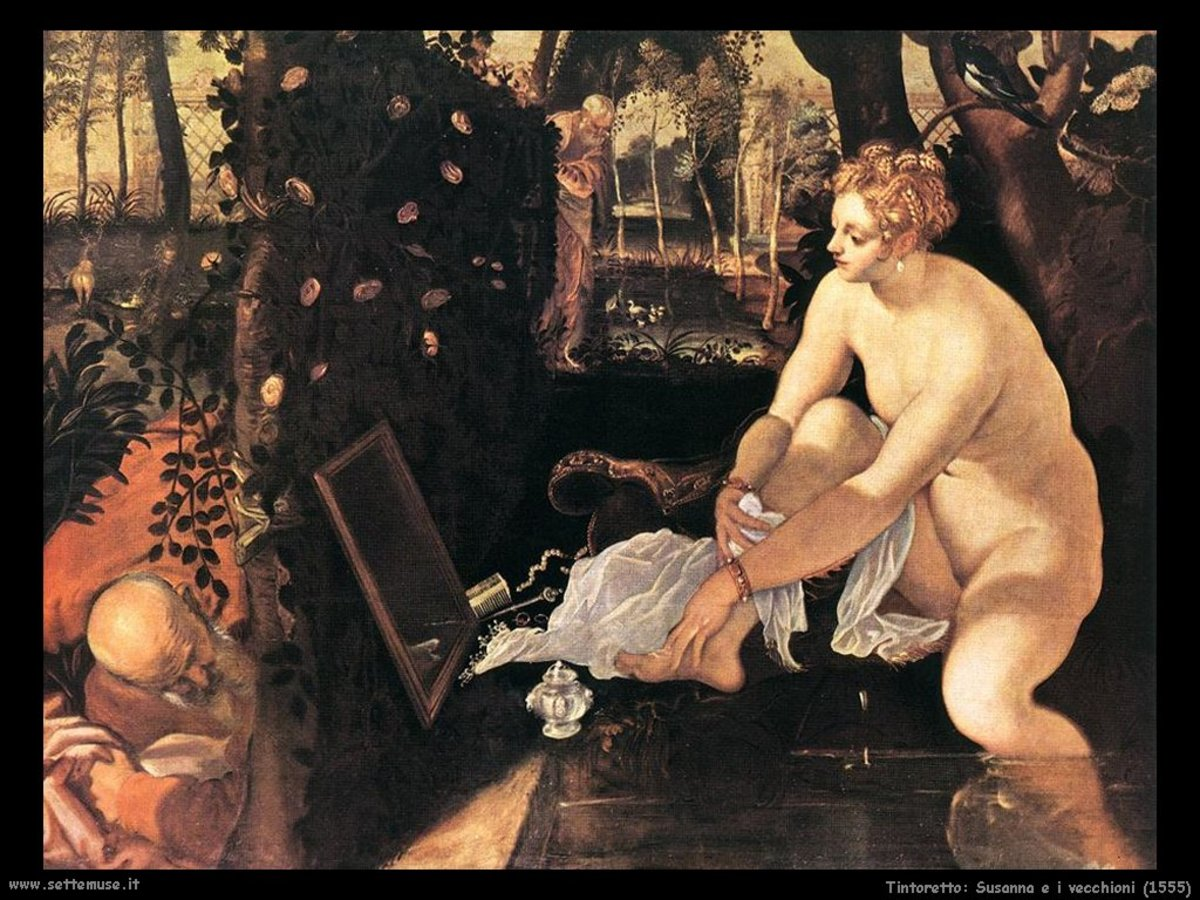 Tintoretto, Susanna and the Elders (a. 1555), Vienna Kunsthistorisches Museum. This painting shows a male interpretation of  the fact.