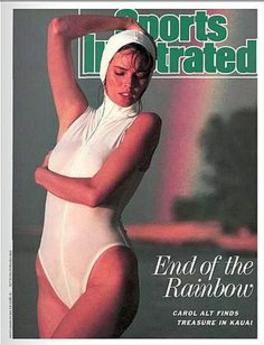 Sports Illustrated Magazine Cover for the Swim Suit Issue in white one piece with white bathing cap