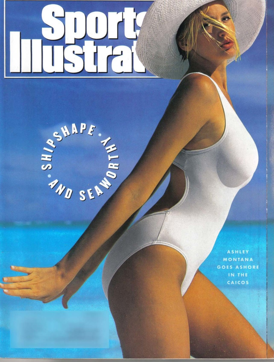 Sports Illustrated Magazine Cover for the Swim Suit Issue in white one piece with sun hat